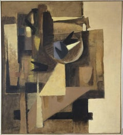 Untitled: Yellow & Brown Still Life (Cubist Inspired Oil Painting,Linen, 1969)