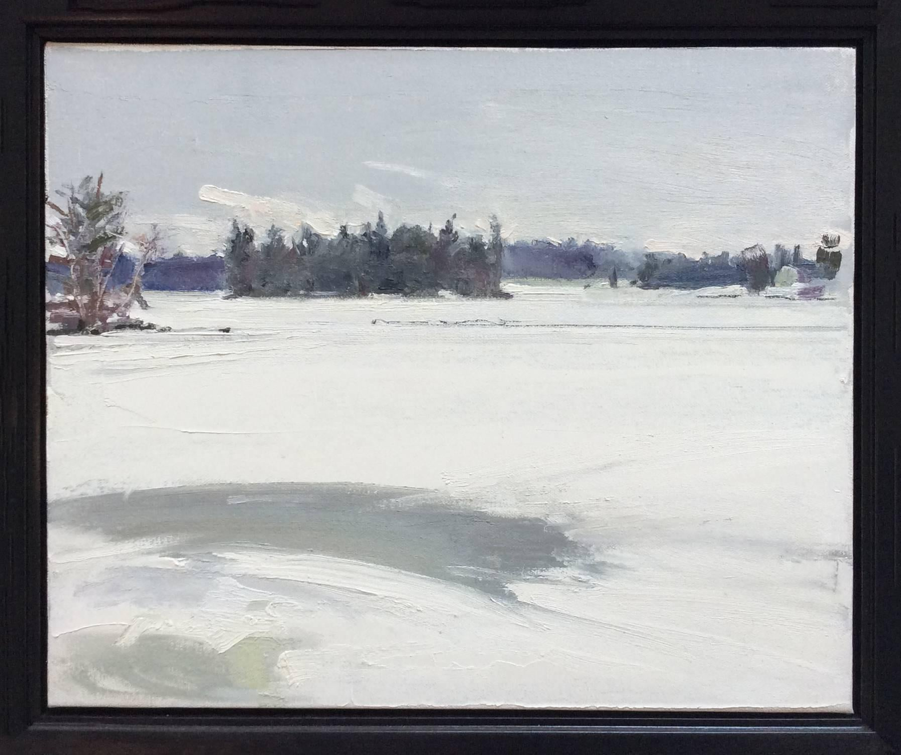 After Dusk: Landscape Oil Painting of Wintertime, White Snow in a Country Field