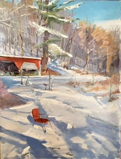 A Chair in Winter (Hudson Valley Landscape Painting of Country Wintertime Scene)