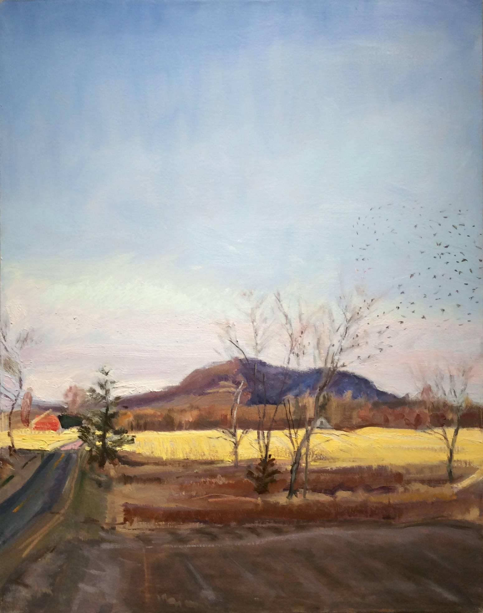 Little Red Barn (Hudson Valley Landscape Oil Painting of Country Road)