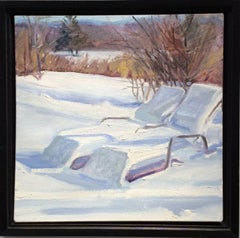 Winter Lounges (Small Landscape Painting of Hudson Valley Snowy Winter Scene)
