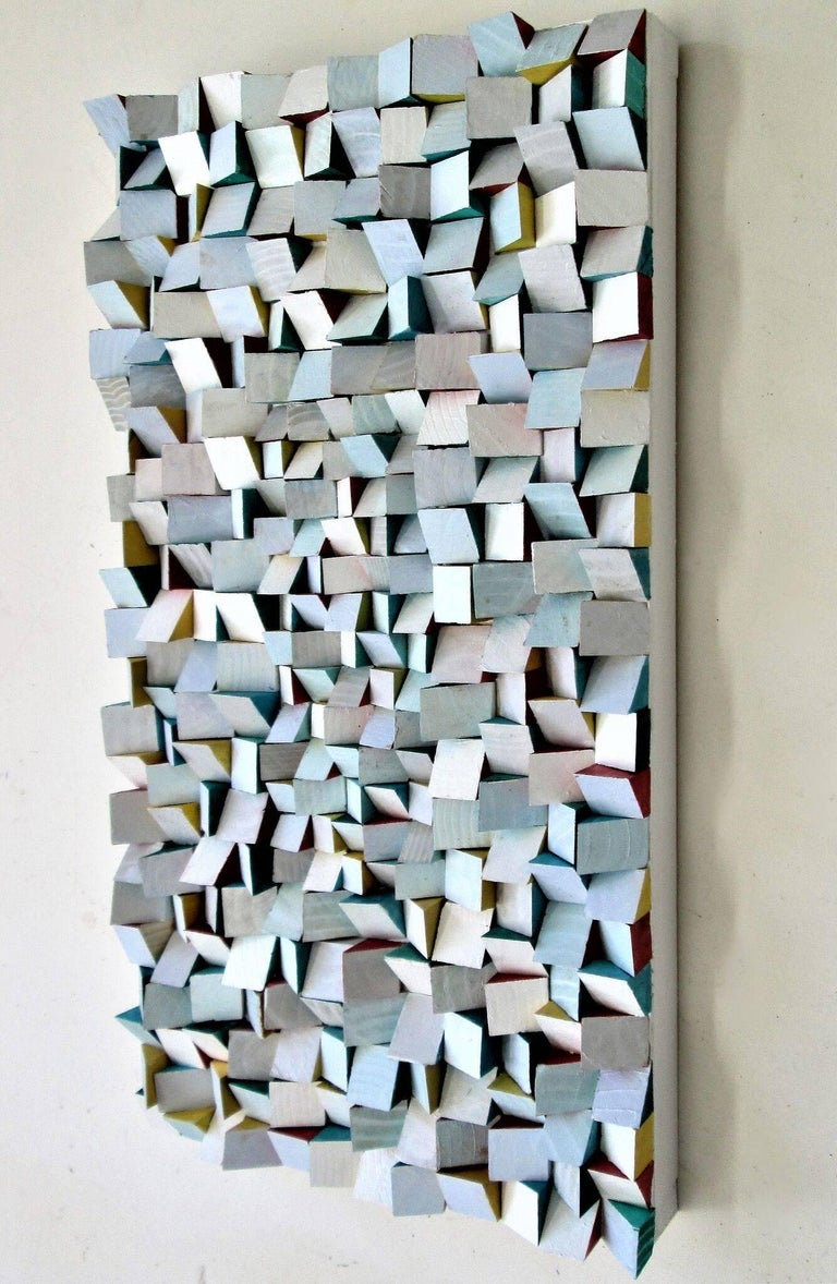 Abstract Three Dimensional Wall Sculpture Acrylic And Wood On Panel Painted With White