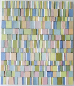 Pianissimo (Abstract Wood Wall Sculpture in Pastel Shades of Pink, Blue, Green)