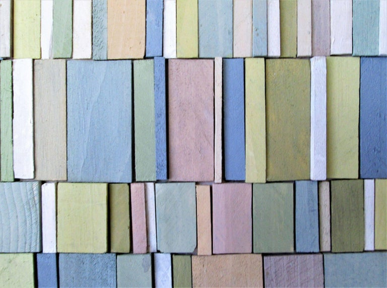 Abstract Three Dimensional Wall Sculpture Acrylic And Wood On Panel Carved Strips Of Painted
