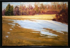 Last Snow (Impressionistic Landscape Painting of White Snow on Yellow Field)