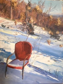 Garden Chair (Hudson Valley Landscape Painting of Country Wintertime Scene)