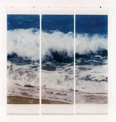 Warm Waters No. 19 (Nautical Style Photograph of Blue Ocean Waves on 3 Panels)