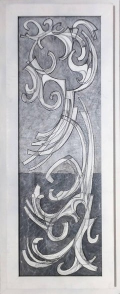 Arabesque 2 (Abstract Drawing on Paper in Vertical White Frame)