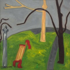 Looking Down: Modern, Naive Style Cityscape of Park Bench and Gray Sky