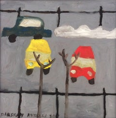 Parked Cars: Modern, Naive Style Square Oil Painting of Cars in a Gray Lot