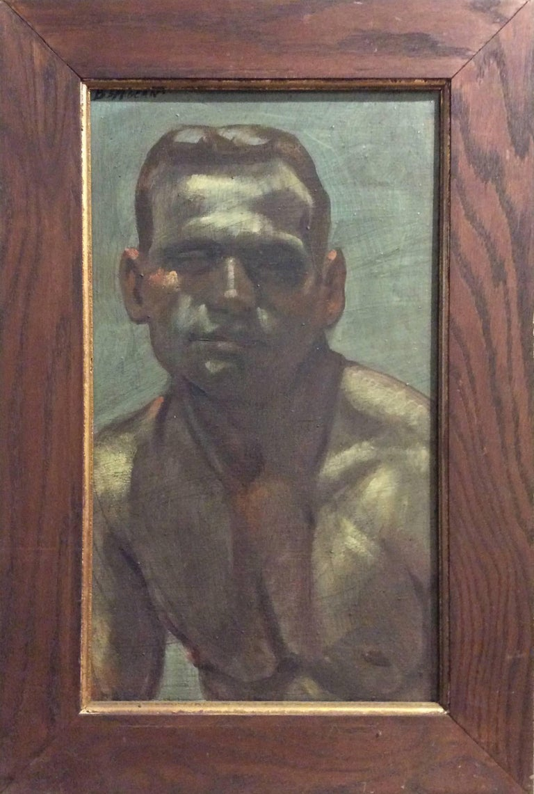 Modern, academic style portrait painting on canvas of a young athletic male  oil on canvas, 26 x 17 inches in antique wood frame  This vertical, contemporary portrait painting of single young male was made by Mark Beard under his fictitious artistic