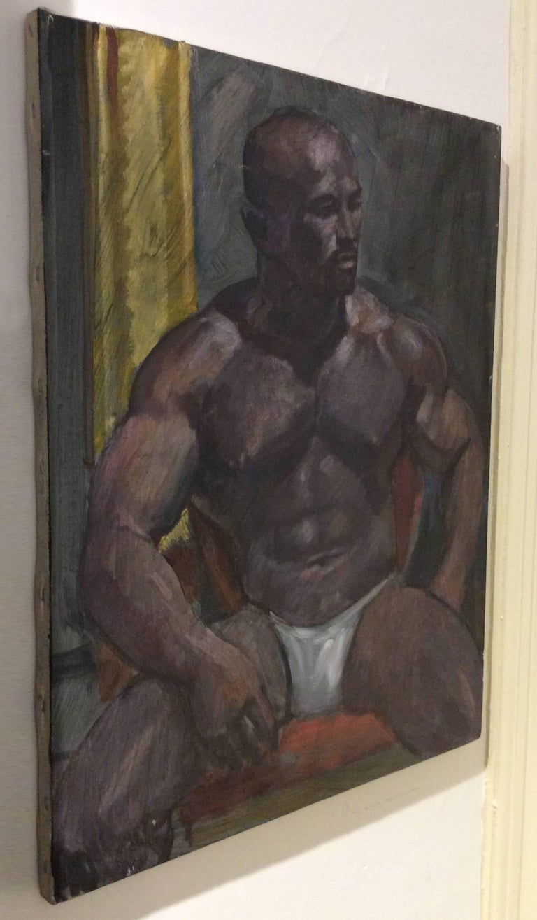 Untitled Portrait I (Academic Style Portrait Painting of a Young Muscular Man)  For Sale 3