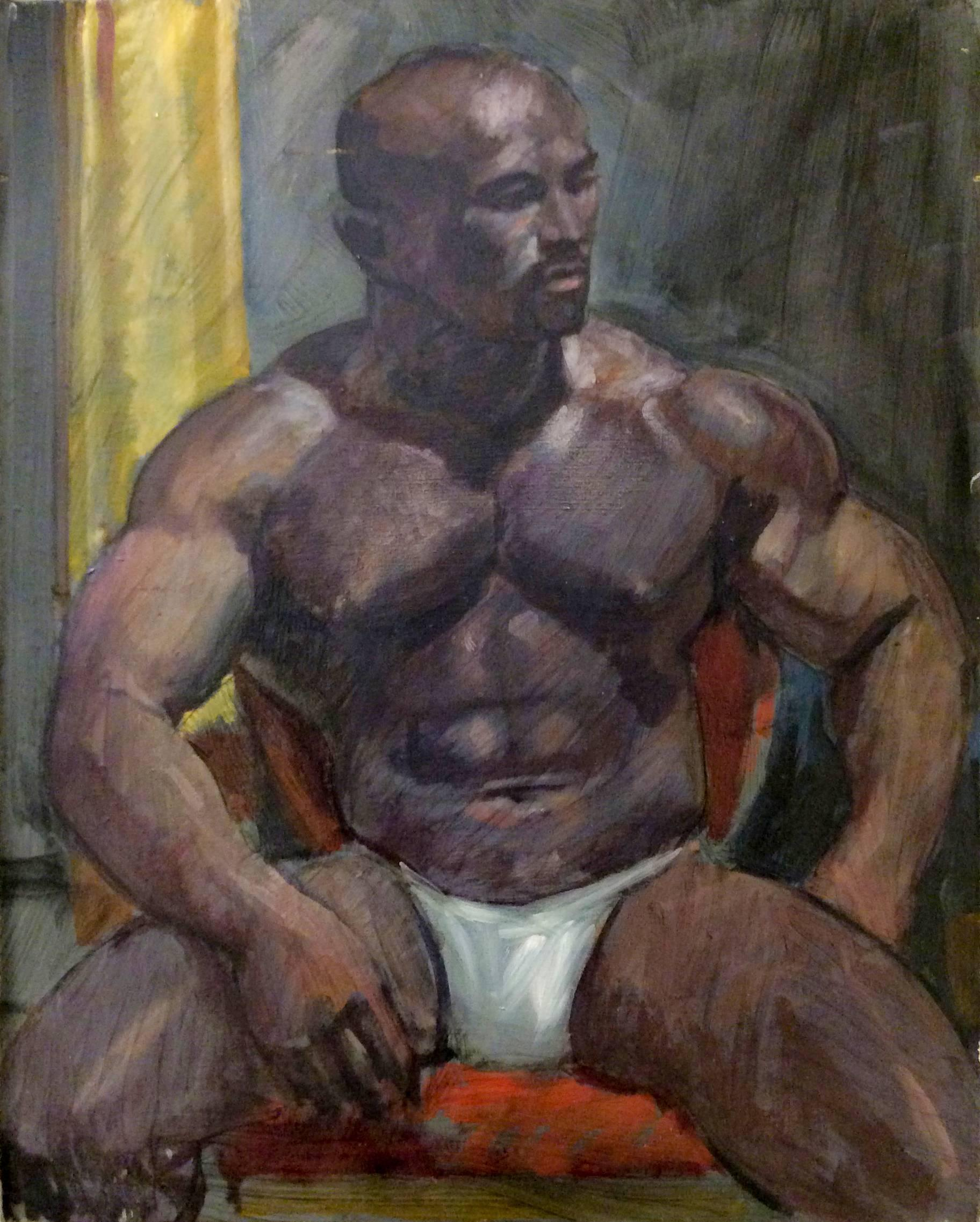 Untitled Portrait I (Academic Style Portrait Painting of a Young Muscular Man)