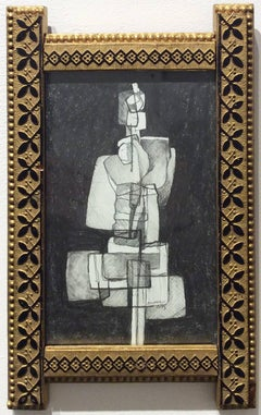 Infanta XLII (Small Abstract Cubist Graphite Drawing in Antique Gold Frame)