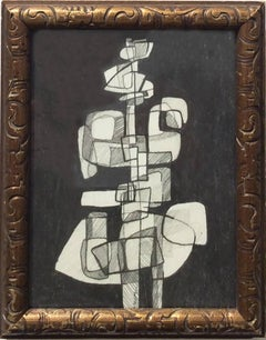 Infanta XLI (Small Abstract Figurative Graphite Drawing in Antique Gold Frame)
