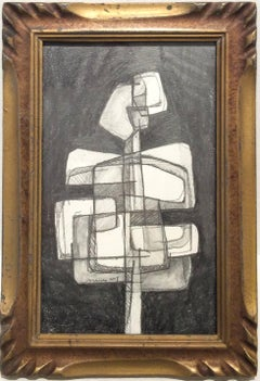 Infanta XLV (Small Abstract Figurative Graphite Drawing in Antique Wood Frame)