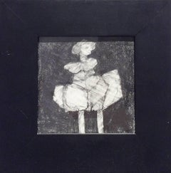 Infanta XLVI (Small Abstract Figurative Graphite Drawing in Square Black Frame)