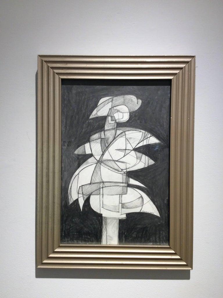 Infanta XLVI (Abstract Figurative Graphite Drawing in Mid Century Modern Frame) - Art by David Dew Bruner