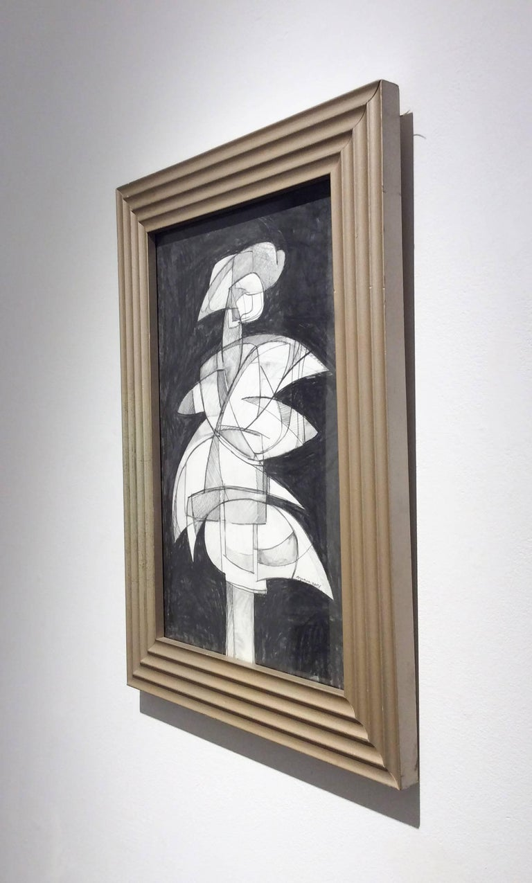 Infanta XLVI (Abstract Figurative Graphite Drawing in Mid Century Modern Frame) - Gray Abstract Drawing by David Dew Bruner