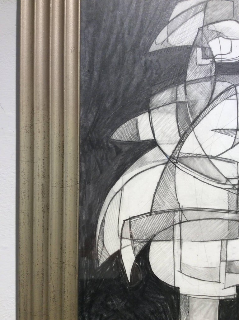 Abstract graphite drawing on paper in vintage mid century modern frame 18.5 x 14 inches framed  This abstract figurative graphite drawing on paper was inspired by academic paintings of the Infanta Margarita. The work is drawn in an abstracted cubist