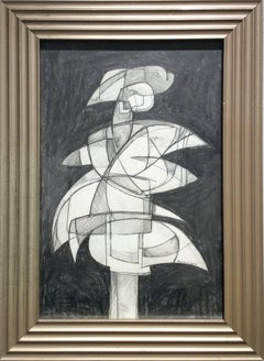 Infanta XLVI (Abstract Figurative Graphite Drawing in Mid Century Modern Frame)