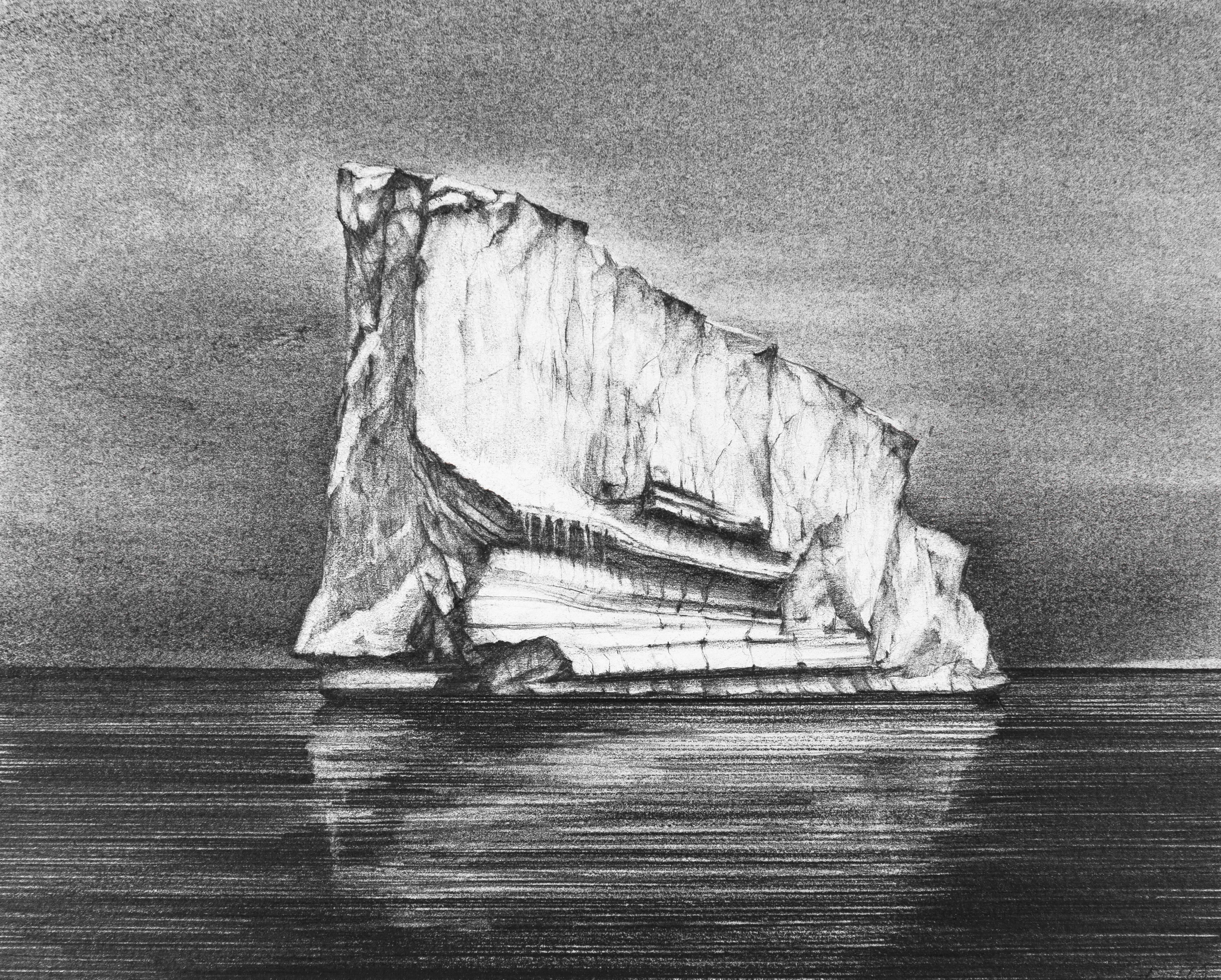 Iceberg Drawing 2: Black and White Landscape Drawing of Iceberg in Water, Framed