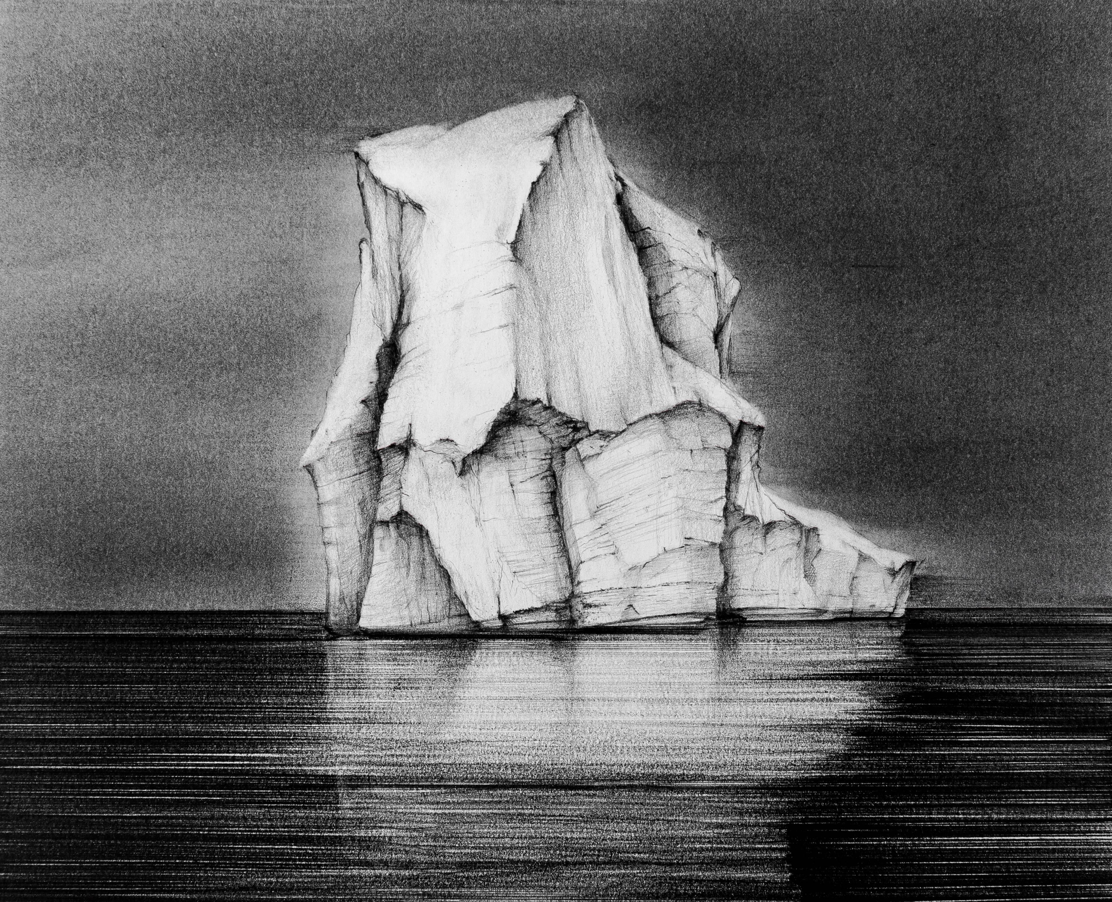 Iceberg Drawing 3: Black and White Landscape Drawing of Iceberg in Water, Framed