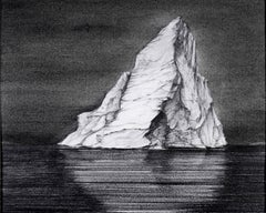 Iceberg Drawing 4: Black and White Landscape Drawing of Iceberg in Water, Framed