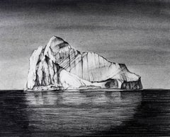 Iceberg Drawing 1: Black and White Landscape Drawing of Iceberg in Water, Framed
