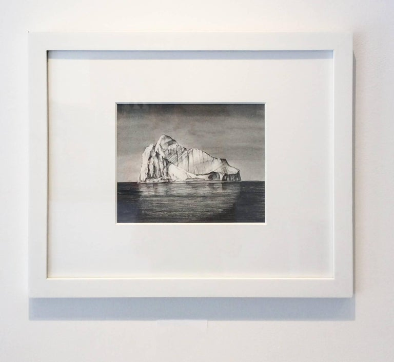 Iceberg Drawing 1: Black and White Landscape Drawing of Iceberg in Water, Framed - Gray Landscape Art by Juan Garcia-Nunez