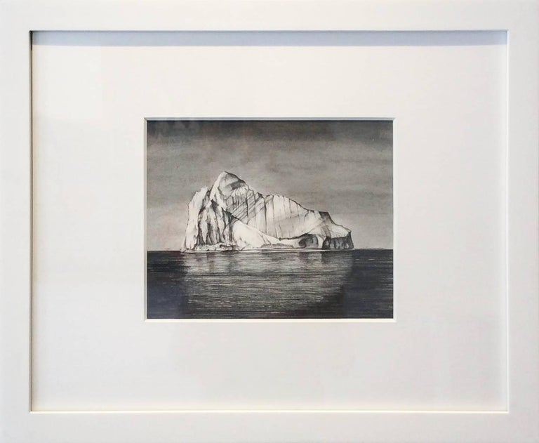 Iceberg Drawing 1: Black and White Landscape Drawing of Iceberg in Water, Framed - Art by Juan Garcia-Nunez