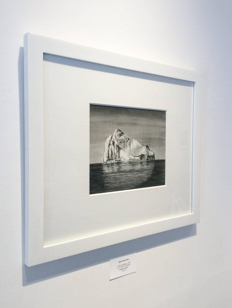 Iceberg Drawing 1: Black and White Landscape Drawing of Iceberg in Water, Framed - Contemporary Art by Juan Garcia-Nunez
