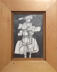 Infanta LII (Abstract Figurative Graphite Drawing in Mid Century Modern Frame)