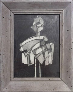 Infanta LIII (Abstract Figurative Graphite Drawing in Gray Vintage Frame)