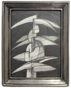 Infanta XLVIII (Abstract Figurative Graphite Drawing in Antique Pewter Frame)
