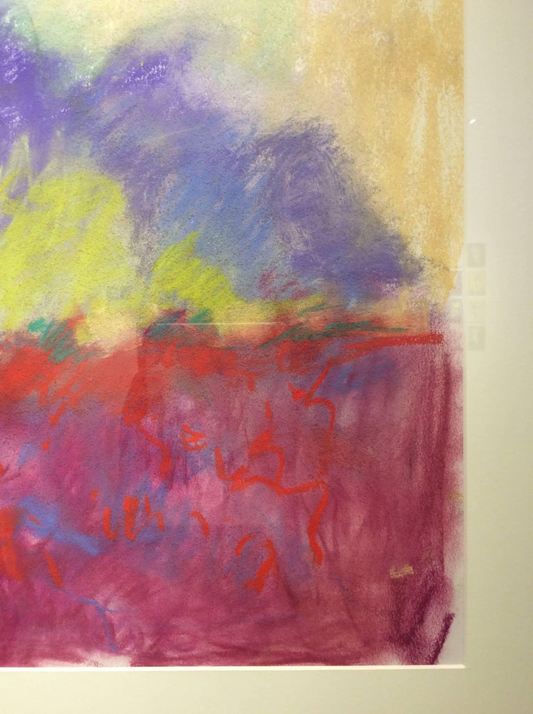 Red Clover Field (Ethereal Abstracted Landscape Pastel on Paper) - Contemporary Art by Nancy Rutter