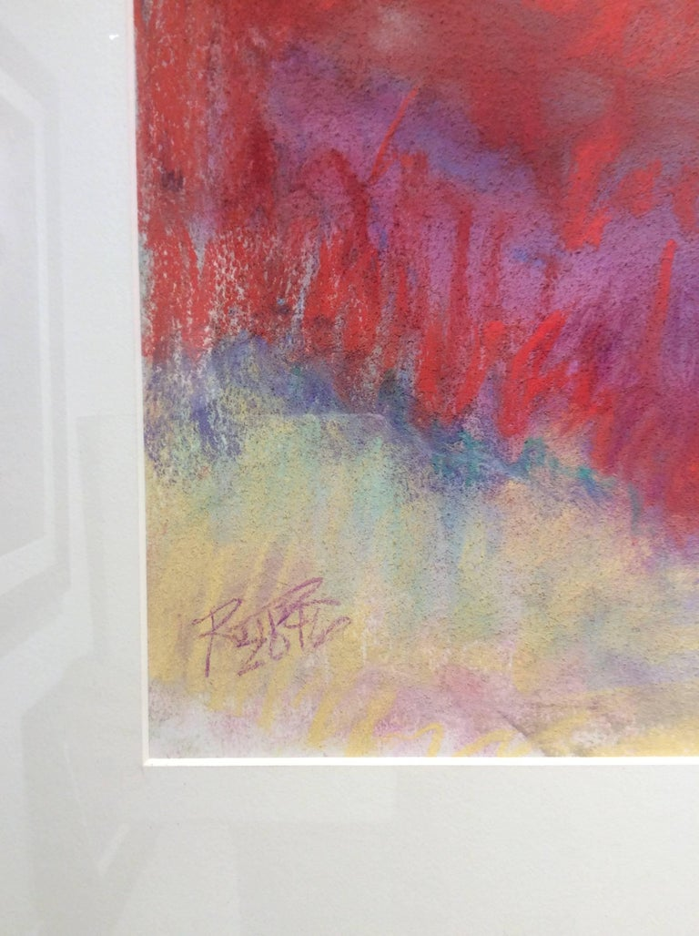 Red Clover Field (Ethereal Abstracted Landscape Pastel on Paper) - Brown Abstract Drawing by Nancy Rutter