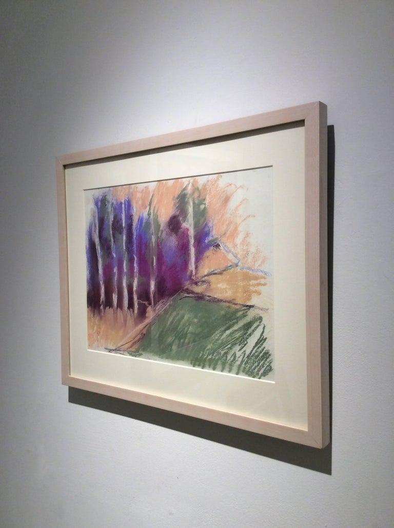 Violet Birches in Early Morn (Ethereal Abstracted Landscape Pastel on Paper) - Contemporary Art by Nancy Rutter