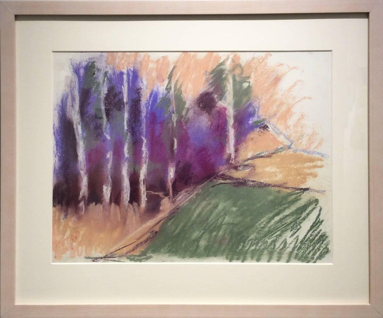 Violet Birches in Early Morn (Ethereal Abstracted Landscape Pastel on Paper) - Art by Nancy Rutter