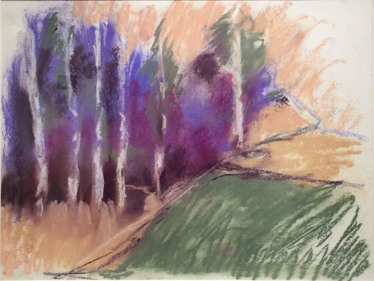 Violet Birches in Early Morn (Ethereal Abstracted Landscape Pastel on Paper)