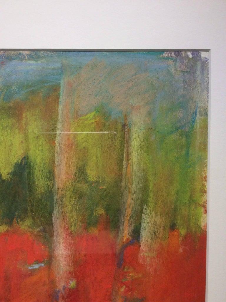 Wood Glen (Ethereal Abstracted Landscape Pastel on Paper) - Brown Landscape Art by Nancy Rutter