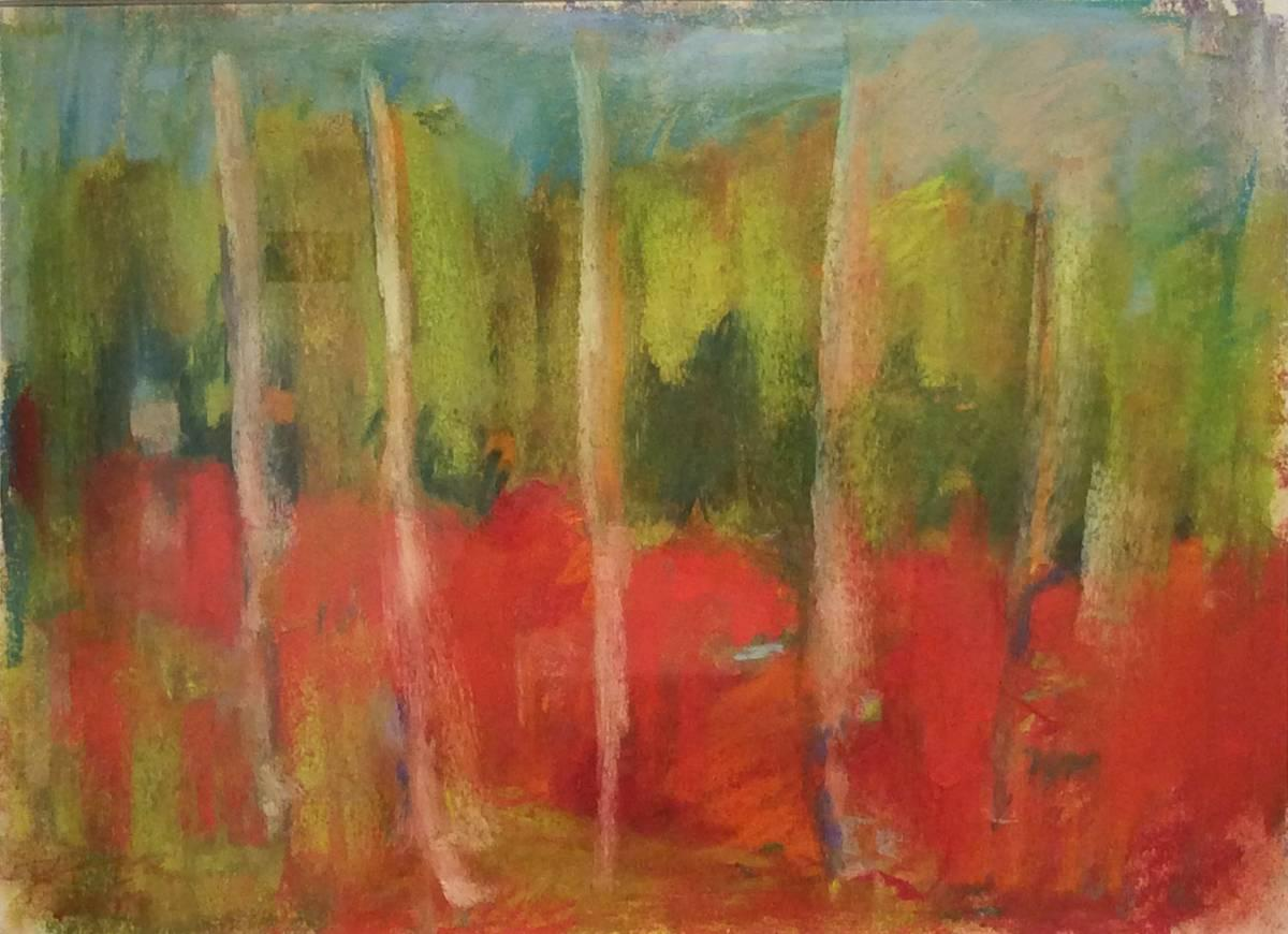 Wood Glen (Ethereal Abstracted Landscape Pastel on Paper)