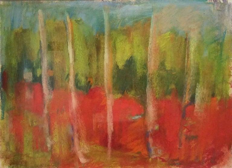 Nancy Rutter Landscape Art - Wood Glen (Ethereal Abstracted Landscape Pastel on Paper)
