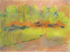 Yellow Field (Ethereal Abstracted Landscape Pastel on Paper)