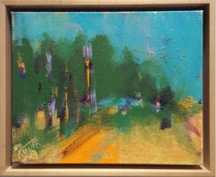 Grove in Overlook (Abstracted Landscape with Gold on Canvas)