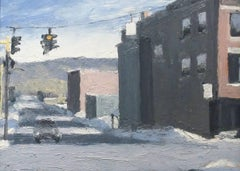 Broad & Ferry St. (Plein Air Cityscape Painting of Upstate New York, Framed)