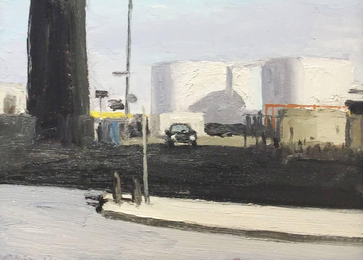 Greenpoint, Brooklyn, NY (En Plein Air Cityscape Painting in Black Wood Frame)