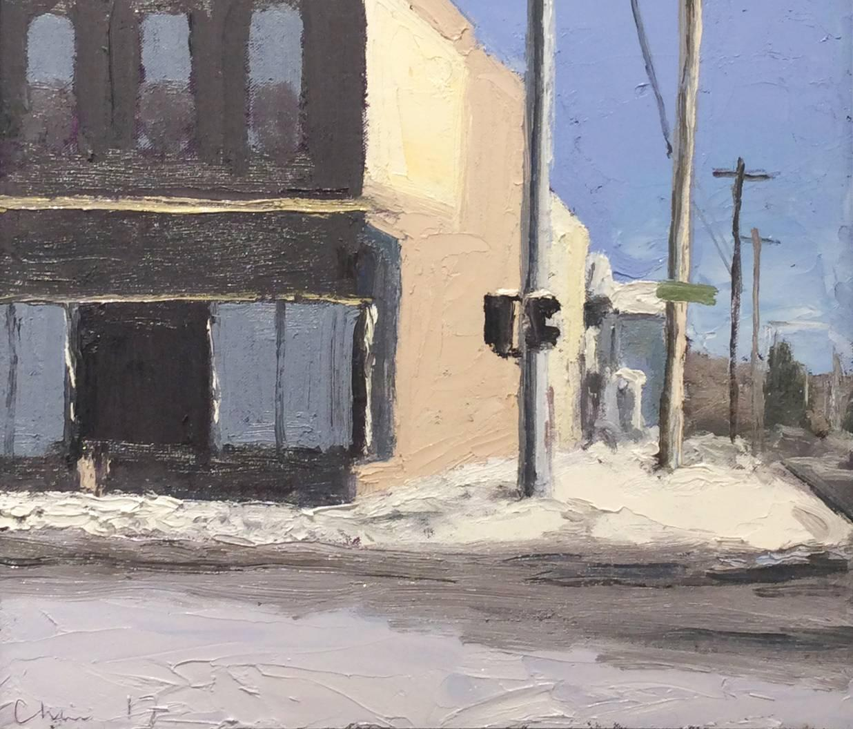 Main & Wall St. (En Plein Air Cityscape Painting of Upstate New York, Framed)