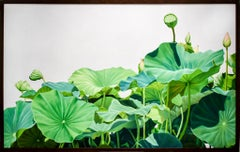 Lotus No. 1 (Contemporary Hard Edge Realist Still Life painting of Lotus Leaves)