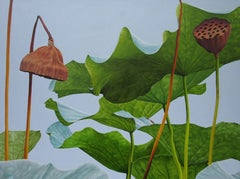 Lotus No. 11 (Hard Edge Realist Still Life Painting with Pale Blue Background)
